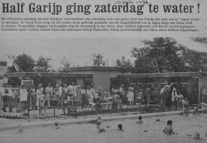 Zwembad opening 10 juli 1976